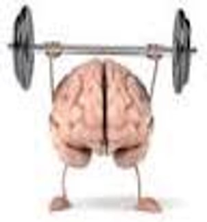 cartoon of brain exercising with weights