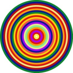 illustration of multi-coloured concentric circles